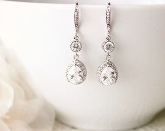 Wedding Jewelry Crystal Wedding Earrings Bridal Earrings Bridesmaid Gift Earrings Cubic Zirconia Dangle Drop Earrings Bridal Jewelry