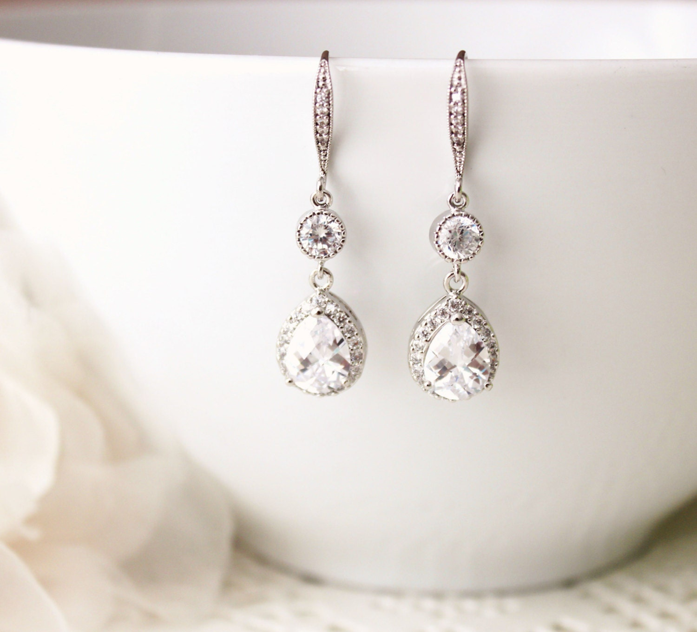 Wedding Jewelry Crystal Wedding Earrings Bridal Earrings Bridesmaid Gift Earrings Cubic Zirconia Dangle Drop Earrings Bridal Jewelry