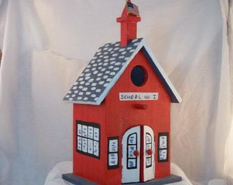 Hand Painted Schoolhouse Birdhouse