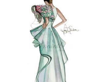 Giclée Art Print, Spring green couture gown fashion illustration