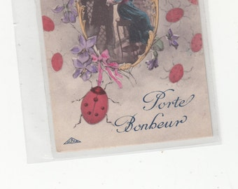 Porte Bonheur French C1910 Antique Postcard Teeming W Ladybugs Portrait Of Lovers In Center