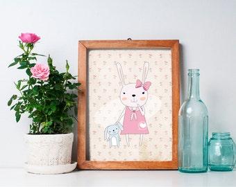 75% OFF SALE - Bunny Nursery Art -  8x10 Bunny Nursery Decor, Woodland Nursery, Nursery Wall Decor, Woodland Creature