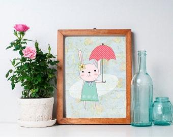 75% OFF SALE - Bunny Nursery Art - 8x10 Bunny Nursery Print, Nursery Wall Decor, Woodland Nursery Decor, Woodland Creature
