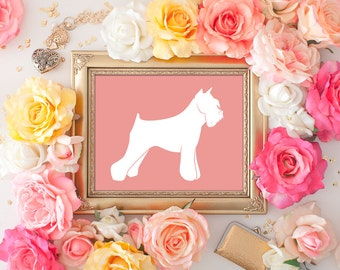 75% OFF SALE - Schnauzer Art - 8x10 Printable Art, Dog Art, Schnauzer Print, Wall Art, Dog Print, Dog in Art, Home Decor, Dog Silhouette