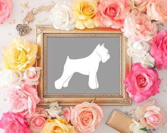 Schnauzer Print - 8x10 Dog Decor, Dog Art, Schnauzer Art, Printable Art, Wall Art, Dog Print, Dog in Art, Dog Silhouette, Gray