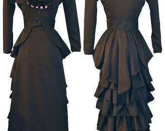 Plus Size Victorian Black and Pink Pinstripe Outfit