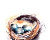 Nest Watercolor Painting Art Print, Watercolour Wall Art