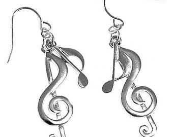 Music Notes Silver Dangle Earrings
