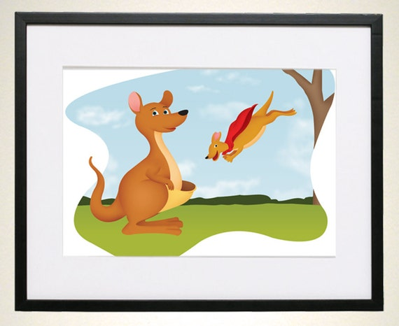 Mother And Baby Gifts Australia : Kangaroo australian art for kids room zoo by sriehlcreations