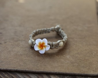 Thick Hemp Anklet/Bracelet Flower Square Knot or Spiral Knot