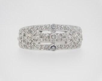 1.00 Carat Total Weight Ladies Round Cut Diamond Band White Gold Ring 14K