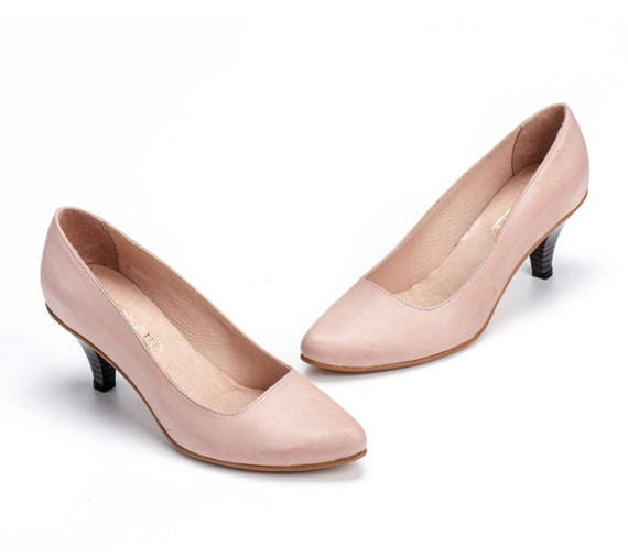 Nude Leather Shoes / High Heels Women Shoes / Blush Pumps /  Pink Shoes / Evening Shoes / Elegant Summer Shoes / Office Shoes  - Thomey