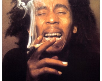Bob Marley Poster, Laughing, Smoking a Spliff, Rasta, Jamaican, Reggae Music Legend