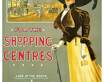 Central London Tube Railway Poster, Vintage Subway Poster, Travel For Shopping, London, England