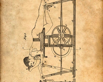 Exercising Machine Patent from 1885 - Art Print Patent Poster