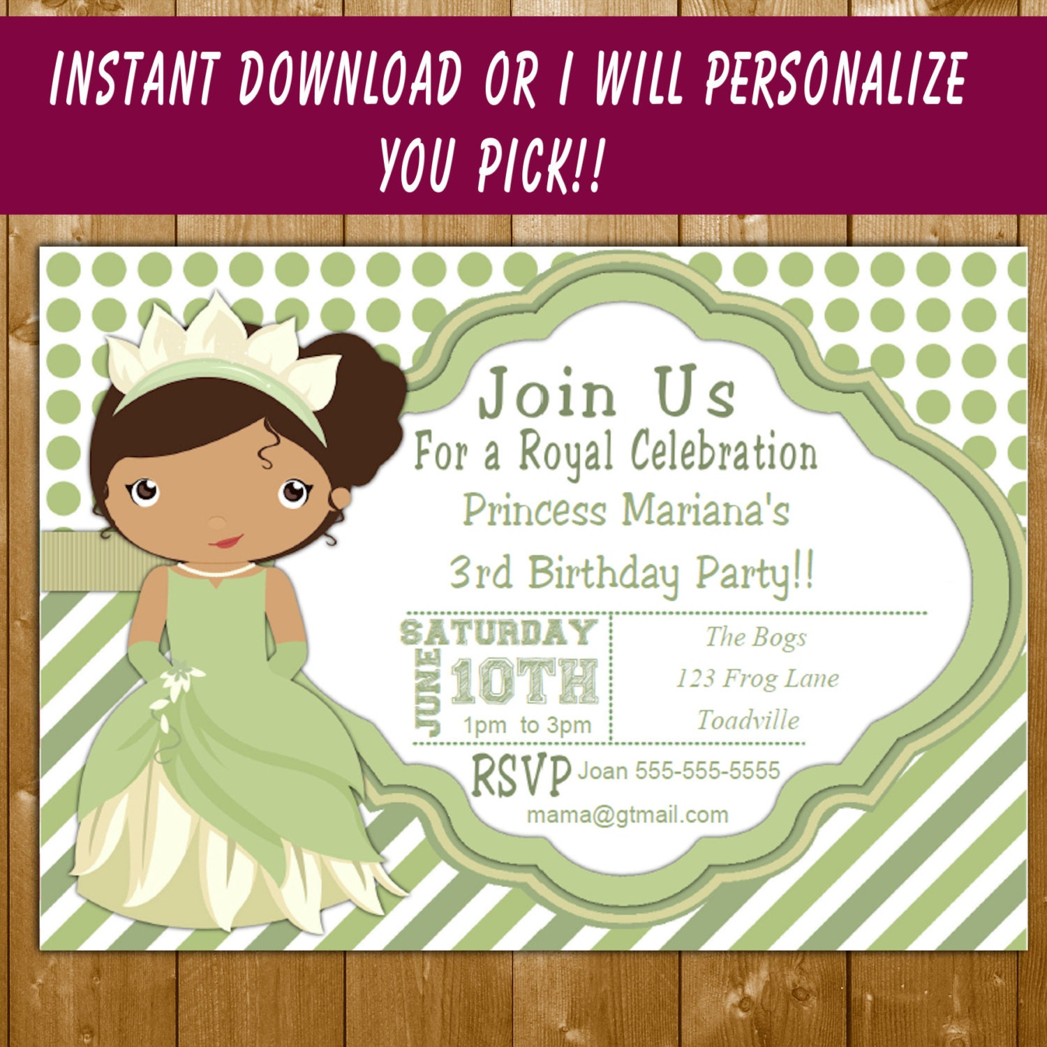 princess tiana funpartysupply – Princess Tiana Party Invitations