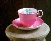 Vintage Aynsley Pink Floral Tea Cup and Saucer - Hand Painted - England - Kitchenalia and Cottage Decor