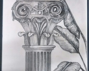"original artwork, OOAK, graphite ""Pillar"""