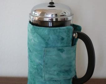 French Press Cozy - Blue Batik Fabric