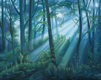 "ORIGINAL Blue Forest Light Woodland Landscape Oil Painting 24"" x 18"" by Emily Luella"