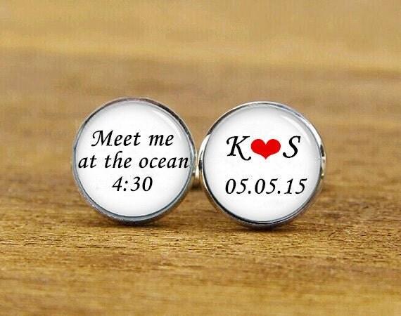 meet me at the ocean cufflinks, custom name and date, heart cuff links, custom wedding cufflinks, round, square cufflinks, tie clips, set
