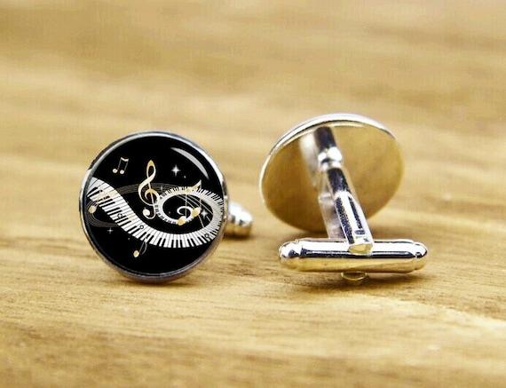 Piano Keys Cufflinks, Golden Music Notes, Personalized Cufflinks, Groom Gifts, Custom Wedding Cufflinks, Round, Square Cufflinks, Tie Clips