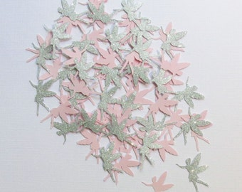 """Silver Glitter And Baby Pink Fairy Confetti - 1.25"""" Inch Choose Your Color/Colors Party Decor Table Scatter Die Cuts Scrapbooking Cards"""