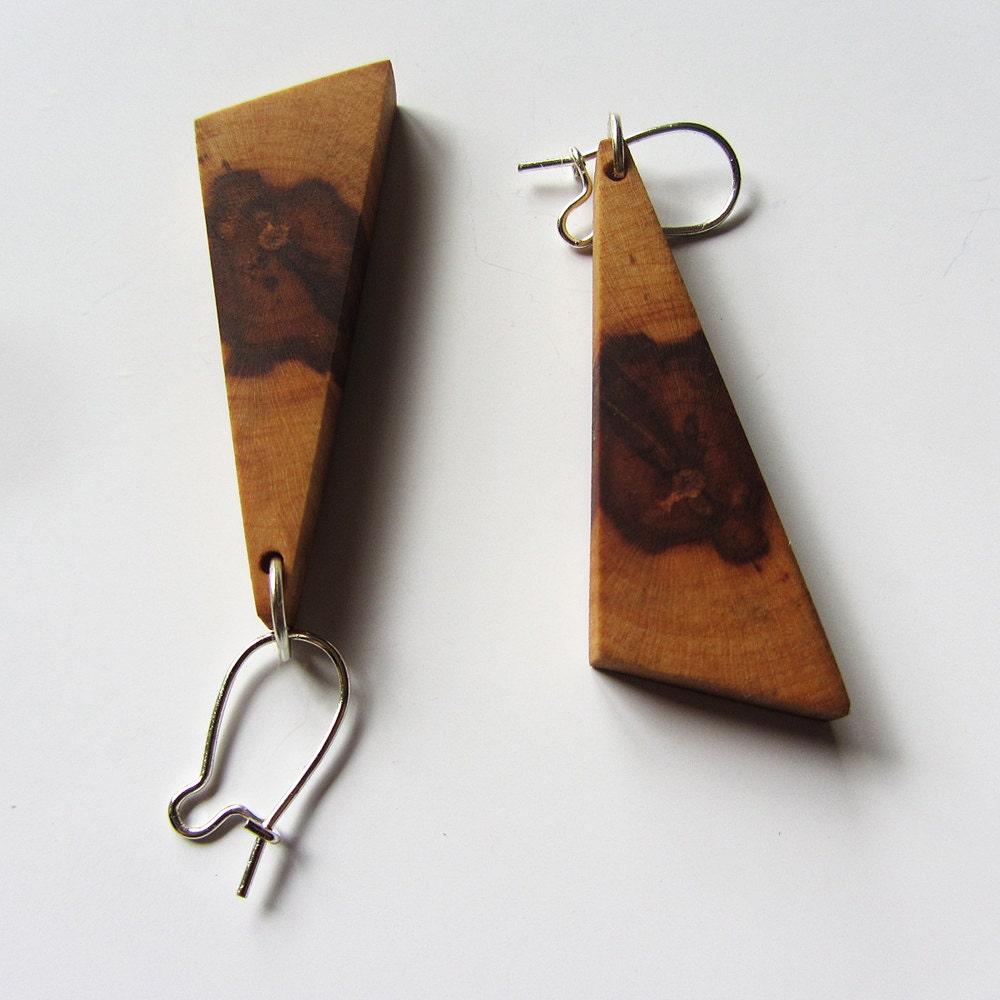 handmade wooden earrings apple wood earrings handmade