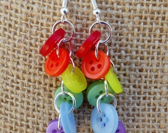 Rainbow Button Cascade Earrings