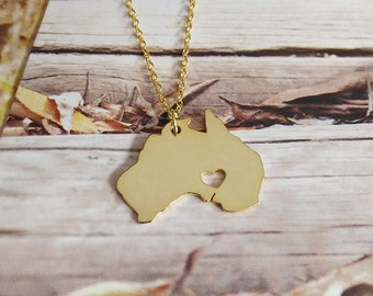 Gold Australia Necklace,Australia Shaped Jewelry with Heart,Australia City Necklace,Personalized Country Necklace,AU Pendant