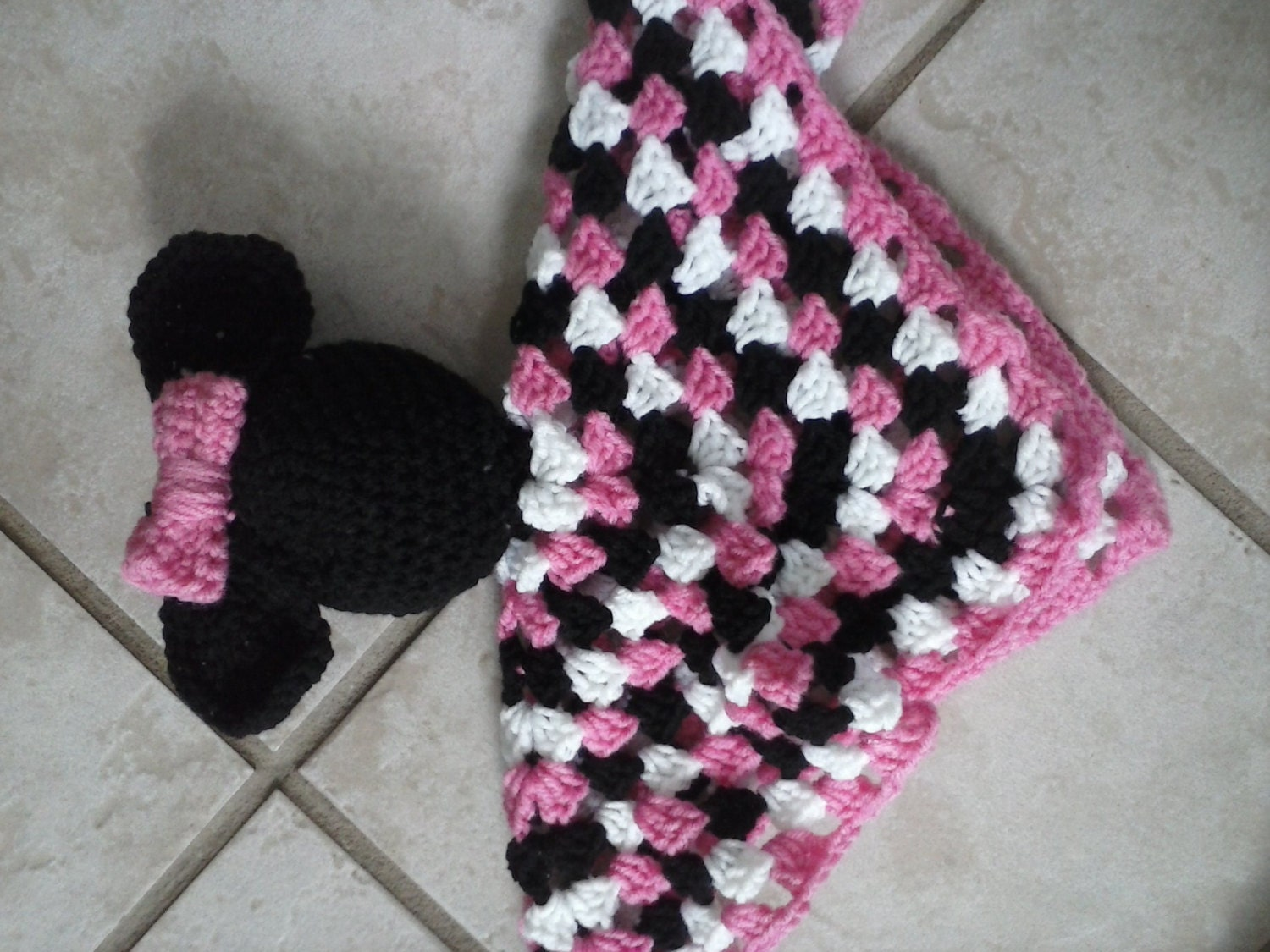 Crochet Minnie Mouse Security Blanket by BurpeesCraftsAndMore