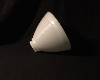 Vintage Milk Glass Lampshade, Horizontal Lines Divided into Sections w/ Vertical Lines