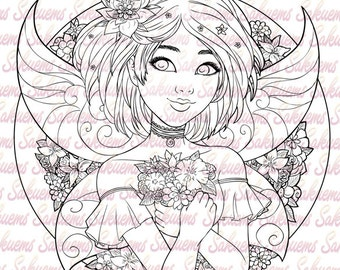digital blank stamp asian fairy little girl line art to color flower pattern design - Design Pictures To Color