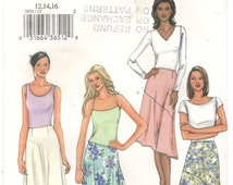 Butterick 3858 Size 12, 14, 16 Womens sewing pattern: Skirt with hi-lo hem.  No Waistband skirts with hi-lo hem in several variations.