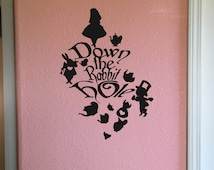Down the Rabbit Hole Collage~ Alice in Wonderland Decal