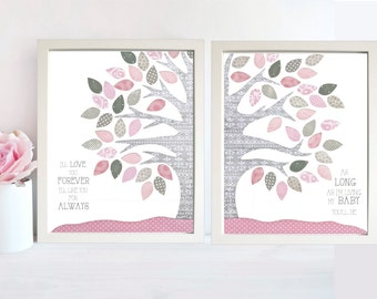 Pink and Gray Nursery Decor, Pink and Grey Nursery Decor, Pink and Gray Nursery, Pink and Grey Nursery, My Baby Youll Be, Tree Nursery Art