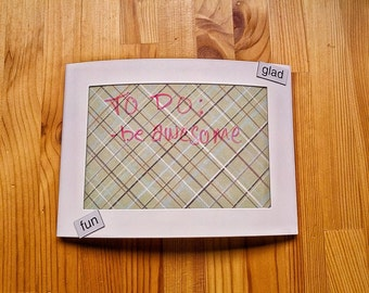 Mini magnetic salvaged dry erase board