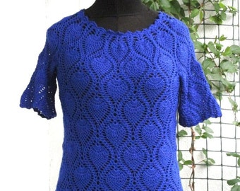 Crochet blouse Crocheted blouse Royal blue blouse  Cotton  quick shipping worldwide 10-14 bussines days