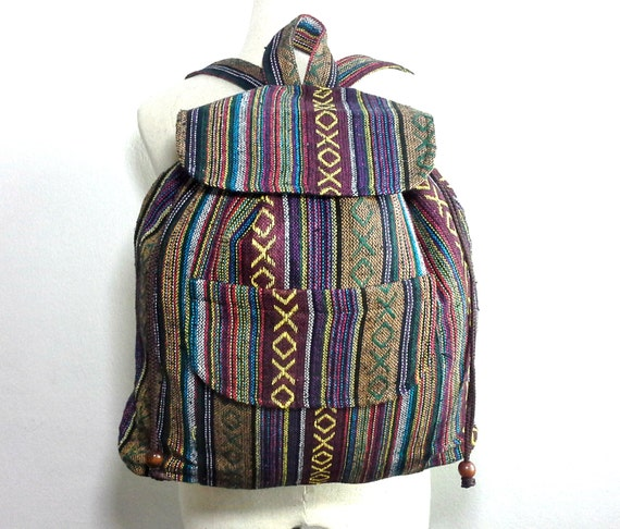 Hippie Mens Backpack Handmade Ethnic Backpack Nepali Cotton