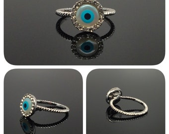 Cute Evil Eye Silver-Tone With Fine Quality Cubic Zirconia Halo Style Ring