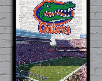 Florida Gators Art Print With Stadium On Dictionary Page. Nice Gift For  College Football Fan