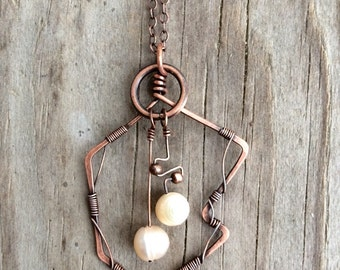 Abstract Copper Wire Necklace with Genuine Freshwater Pearls