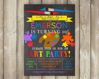 ART BIRTHDAY PARTY Invitation - Painting Birthday Party - Calling All Artists - Artists Bday - Chalkboard - Digital File- Print Yourself