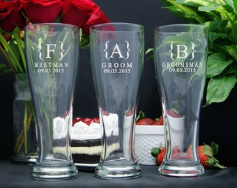 Personalized Beer Glasses / Groomsmen Gifts / Bridesmaids Gifts / Engraved Wedding Party Glasses / Beer Mug  / 16 DESIGNS / ANY Quantity