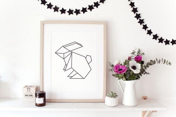 affiche pour enfants origami lapin id al chambre by. Black Bedroom Furniture Sets. Home Design Ideas