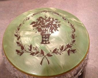 SALE 50% OFF - Heavy Antique Cut Glass Art Deco Dresser Jar