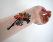 Temporary Tattoo - Gun, Fire arm, Floral, Flower, Vintage gun, Hand gun, Geekery NO. T05