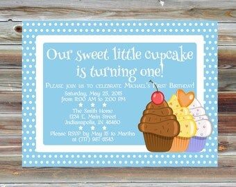 Cupcake First Birthday Invitation - Personalized Custom Polka Dot 1st Birthday Boy Invite - Cupcake Polka Dot Birthday Invitation