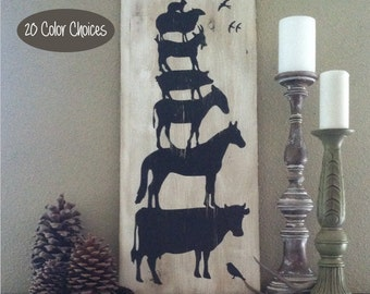 Painted Wood Animal Sign