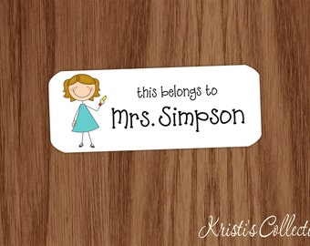 This belongs to Labels Stickers - Custom Personalized Back to School Gift - Stick Figure Teacher Gifts - This book belongs to